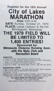 flyer_City of Lakes Marathon, 1979