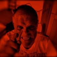 devilish photo of man with red overlay