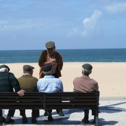 photo backs of men seated on bench at the beach