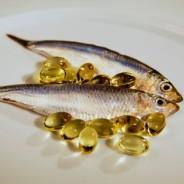 photo of fresh fish + vitamin e capsules