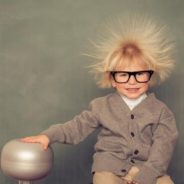 photo, kid with glasses with static hair sticking out