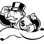 graphic of Monopoly banker, B/W illustration