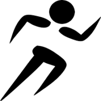 graphic of man running, B/W illustration